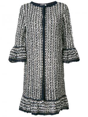 Длинное вязаное пальто Charlott. Цвет: синий