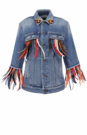 Джинсовая куртка перьевой отделкой Dolce & Gabbana. Цвет: голубой