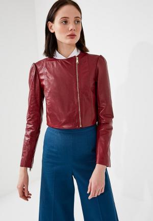 Куртка кожаная Max&Co MA111EWZUN27. Цвет: бордовый