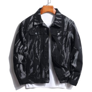 Мужской Джинсовая куртка с принтом тай-дай без футболки SHEIN. Цвет: чёрный