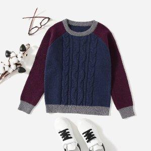 Вязаный свитер с рукавом-реглан для мальчиков SHEIN. Цвет: многоцветный