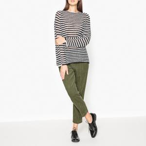 Пуловер в полоску с круглым вырезом TAPIO MOMONI. Цвет: белый/ черный