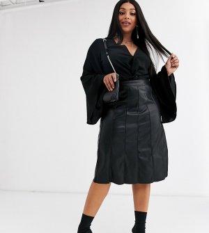 Полиуретановая юбка миди -Черный Religion Plus