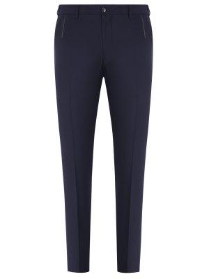 Классические брюки из шерсти Zilli. Цвет: синий