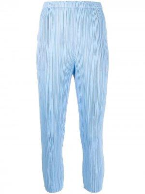 Pleated cropped trousers Pleats Please Issey Miyake. Цвет: синий