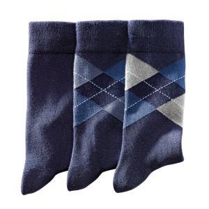 3 пары носков LA REDOUTE COLLECTIONS. Цвет: синий морской,черный/серый