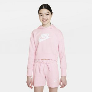 Укороченная худи из трикотажа френч терри для девочек школьного возраста Sportswear Club - Розовый Nike