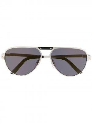 Солнцезащитные очки-авиаторы Santos de Cartier Eyewear. Цвет: серебристый