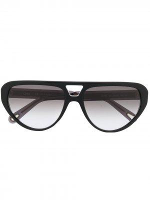 Солнцезащитные очки в оправе кошачий глаз Chloé Eyewear. Цвет: черный