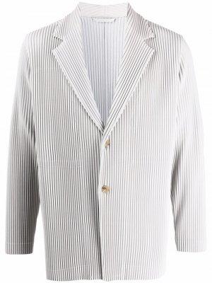 Плиссированный однобортный пиджак Homme Plissé Issey Miyake. Цвет: серый