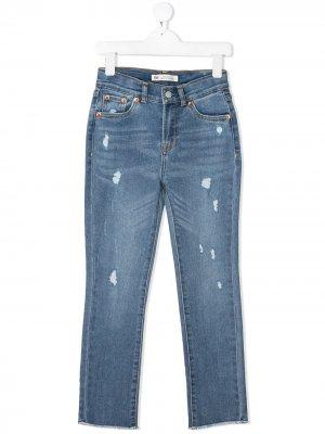 Levis Kids прямые джинсы с эффектом потертости Levi's. Цвет: синий