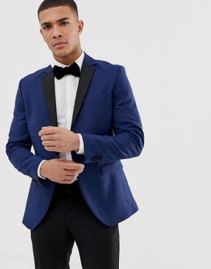 Пиджак-смокинг с контрастными лацканами Premium-Синий Jack & Jones