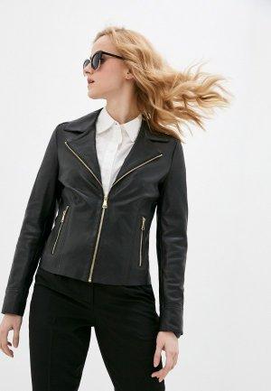 Куртка кожаная Oakwood SIDE. Цвет: черный