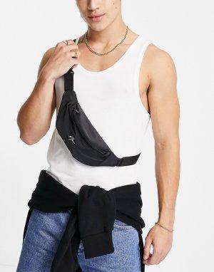 Черная сумка-кошелек на пояс с вышивкой NLM -Черный цвет New Look