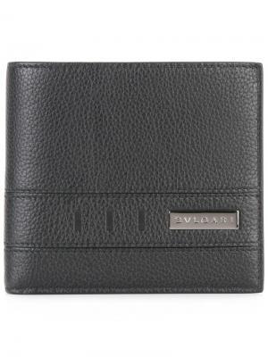 Бумажник с металлической бляшкой Bulgari. Цвет: чёрный
