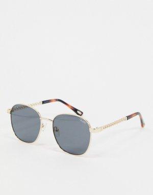 Золотистые круглые солнцезащитные очки с цепочкой -Золотой Quay Australia