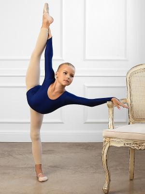 Гимнастический купальник Arina Ballerina. Цвет: темно-синий