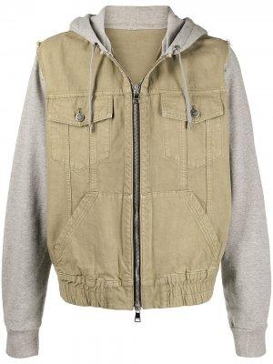 Куртка с капюшоном и контрастными вставками Balmain. Цвет: зеленый