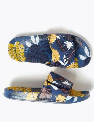 Детские сандалии с тропическим принтом Marks & Spencer. Цвет: морской микс