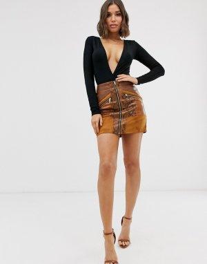 Светло-коричневая мини-юбка из искусственной кожи с молнией и змеиным принтом на вставках -Коричневый River Island