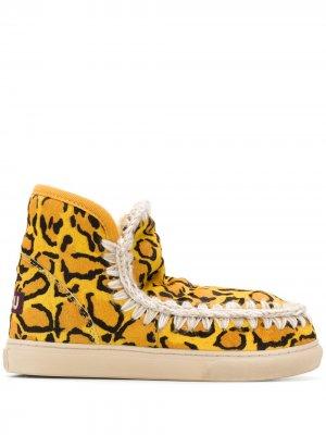 Ботильоны с леопардовым принтом Mou. Цвет: желтый