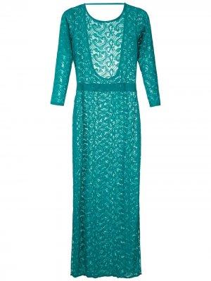 Кружевное платье макси Brigitte. Цвет: зеленый