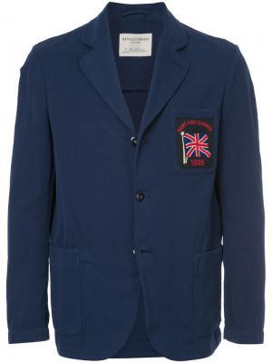 Блейзер с заплаткой флагом Kent & Curwen. Цвет: синий