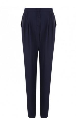 Однотонные брюки прямого кроя из вискозы Giorgio Armani. Цвет: синий