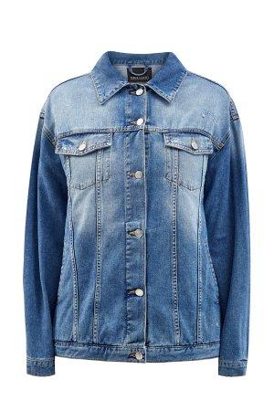 Джинсовая куртка с объемным декором из стразов ERMANNO SCERVINO. Цвет: синий
