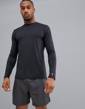 Черный спортивный эластичный лонгслив New Look