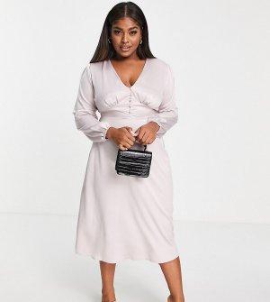 Платье миди светло-розового цвета на пуговицах -Розовый Flounce London Plus