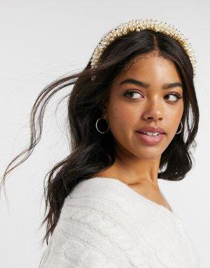 Ободок на голову с золотисто-жемчужными бусинами -Золотой ASOS DESIGN