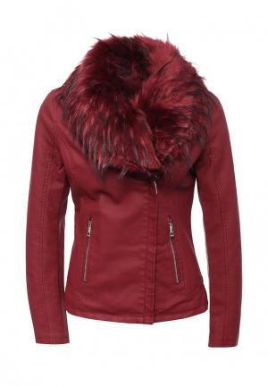 Куртка кожаная Adrixx AD021EWLVQ43. Цвет: бордовый