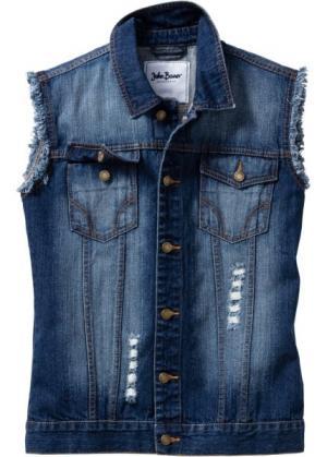 Джинсовый жилет Regular Fit (нежно-голубой «потертый») bonprix. Цвет: нежно-голубой «потертый»