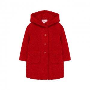 Пальто из эко-меха с капюшоном Il Gufo. Цвет: красный