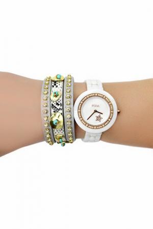 Набор: часы, браслет BORA. Цвет: золотой, белый
