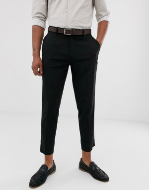 Черные строгие укороченные брюки зауженного кроя -Черный ASOS DESIGN