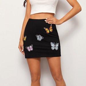 Мини юбка с принтом бабочки SHEIN. Цвет: чёрный