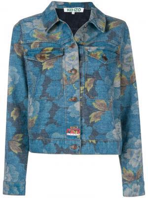 Джинсовая куртка с цветочным принтом Kenzo. Цвет: синий