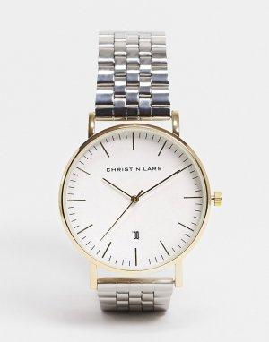 Часы из нержавеющей стали с браслетом и датой -Серебристый Christin Lars