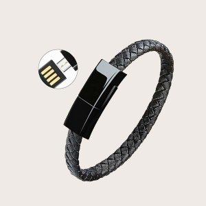 Плетеный браслет для передачи данных типа C 1шт SHEIN. Цвет: чёрный