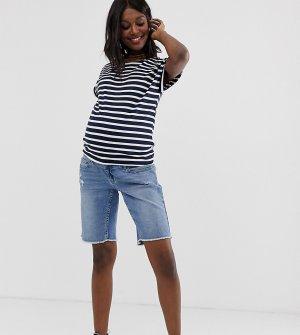 Длинные шорты с необработанным краем и съемной лентой Maternity-Синий Bandia