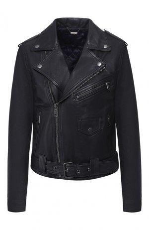 Кожаная куртка Polo Ralph Lauren. Цвет: синий