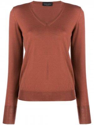 Пуловер кроя слим с V-образным вырезом Roberto Collina. Цвет: коричневый