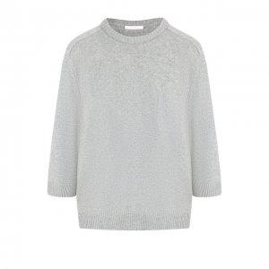 Кашемировый пуловер с укороченным рукавом и накладным карманом Chloé. Цвет: серый
