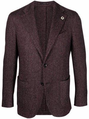 Однобортный пиджак Lardini. Цвет: красный