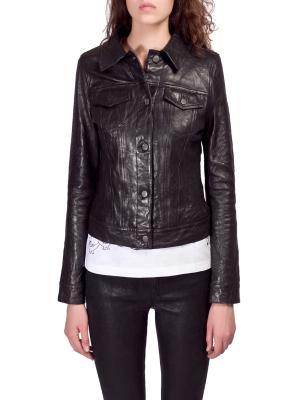 Кожаная куртка JBRAND. Цвет: черный