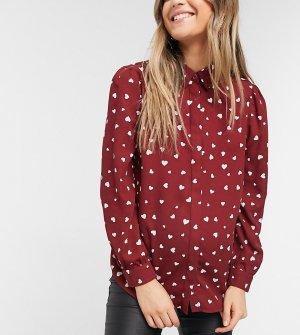 Красная рубашка с принтом сердец -Красный New Look Maternity