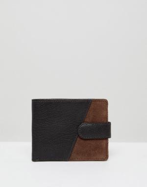 Двухцветный кожаный бумажник New Look. Цвет: коричневый