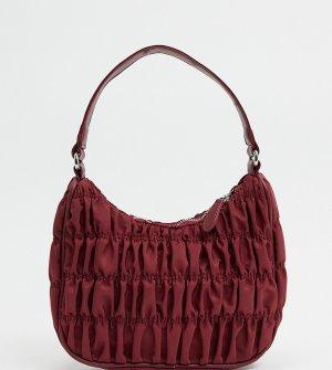 Бордовая нейлоновая сумка на плечо со сборками -Красный Glamorous